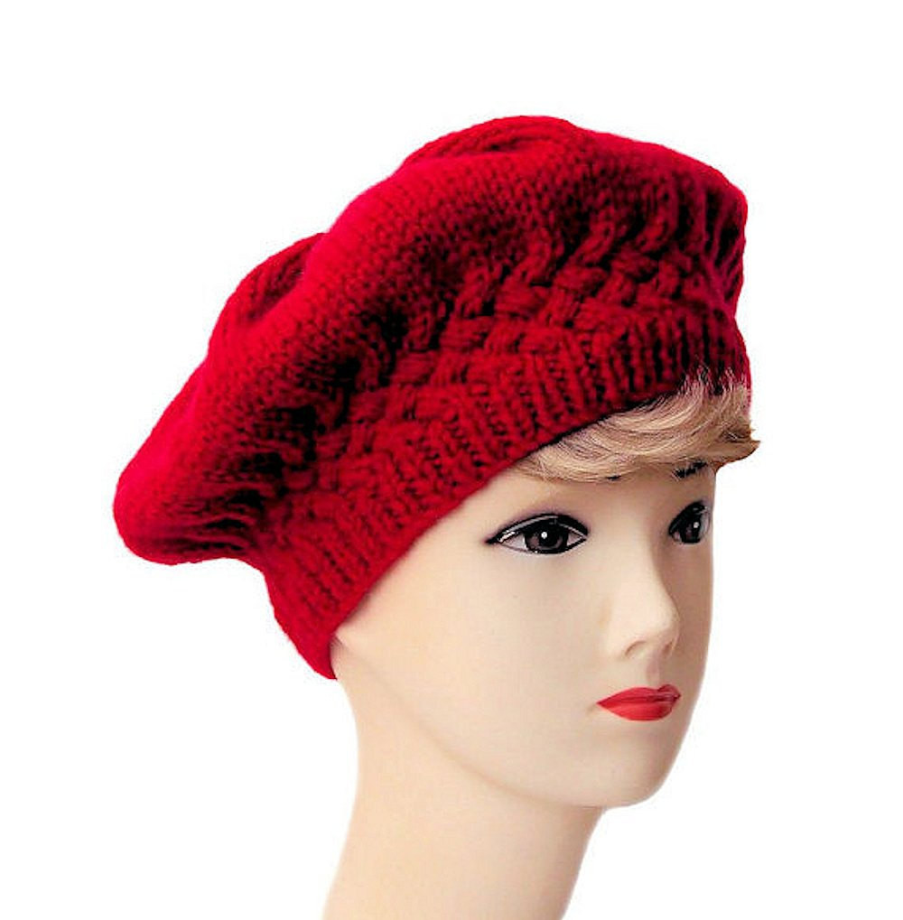 Beautiful Red Beret Women S Beret Red Hat Knit Hat Knitted Beret Knit Beret Of Beautiful 41 Models Knit Beret