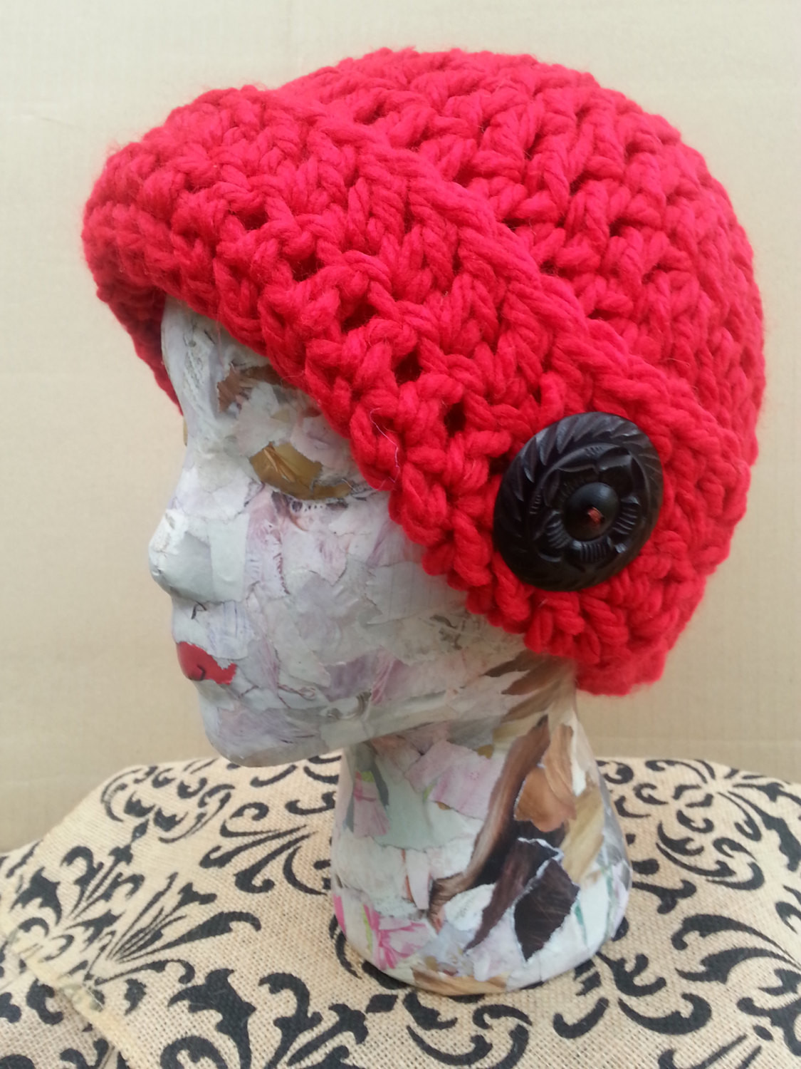 SALE Red Crochet Skull Cap Funky Winter Cap Women s Teen