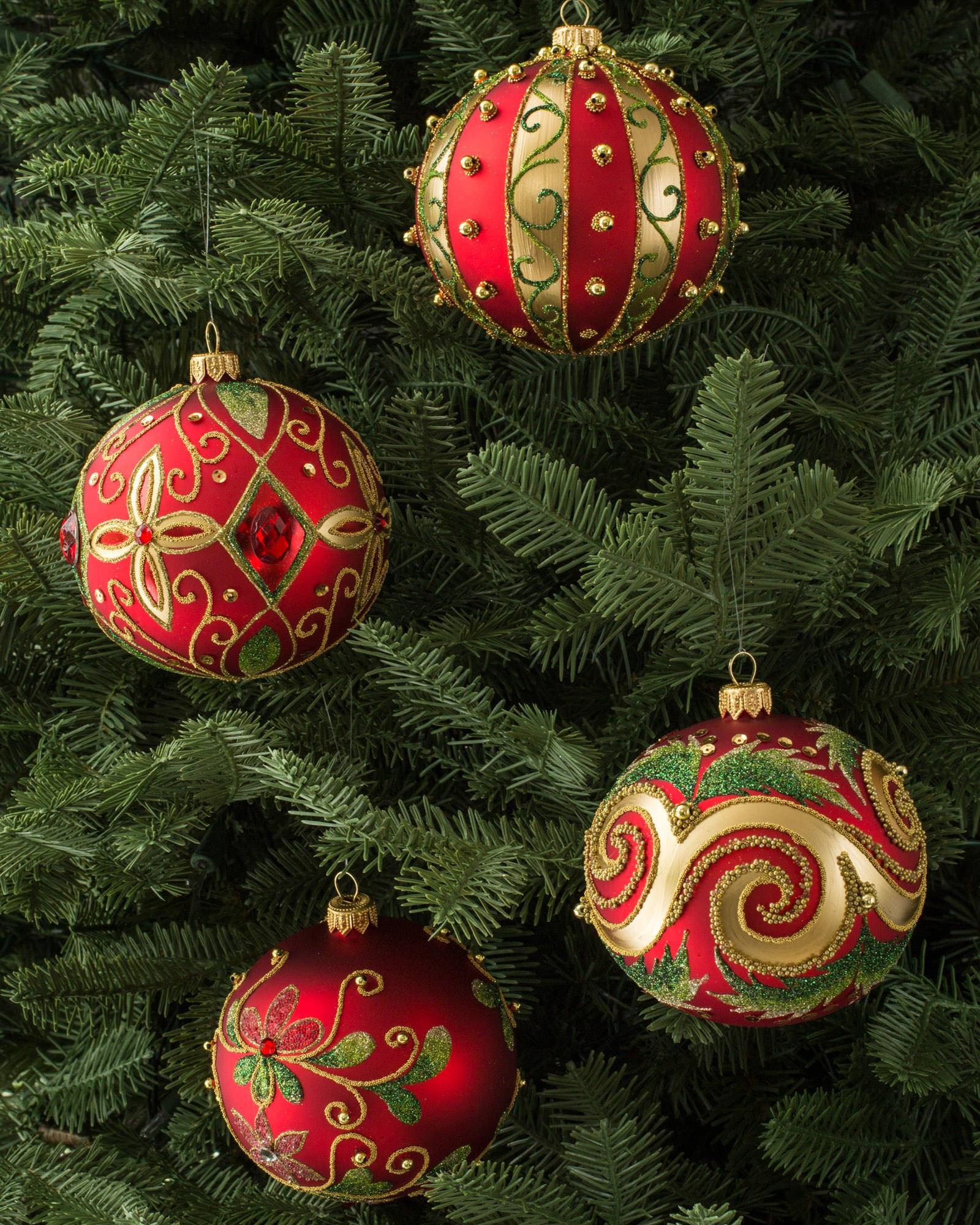 Beautiful Set Of 4 Decorated Glass Ball ornaments Christmas Tree Ball ornaments Of Charming 46 Ideas Christmas Tree Ball ornaments