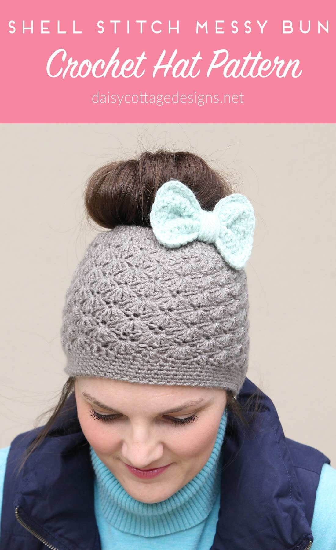 Beautiful Shell Stitch Messy Bun Crochet Hat Pattern Daisy Cottage Free Messy Bun Hat Pattern Of Amazing 42 Ideas Free Messy Bun Hat Pattern