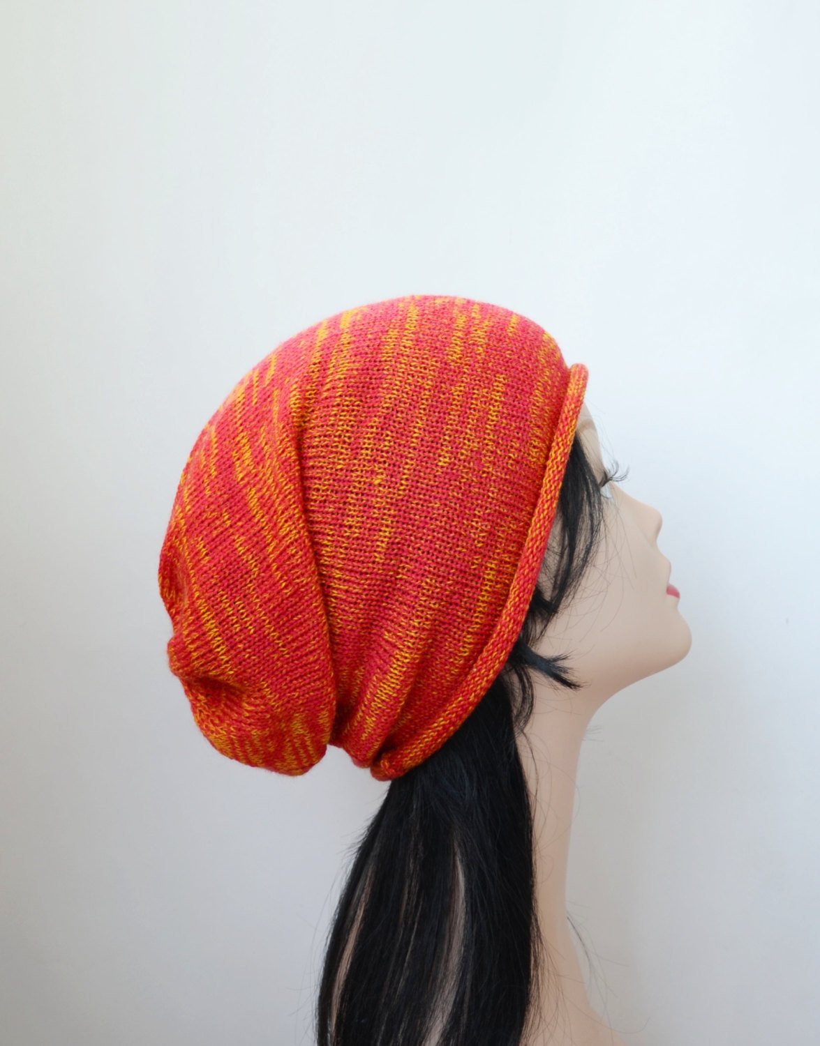 Beautiful Slouchy Beanie Hat Red orange Knit by Handmadelana On Etsy Red Slouchy Beanie Of New 50 Models Red Slouchy Beanie
