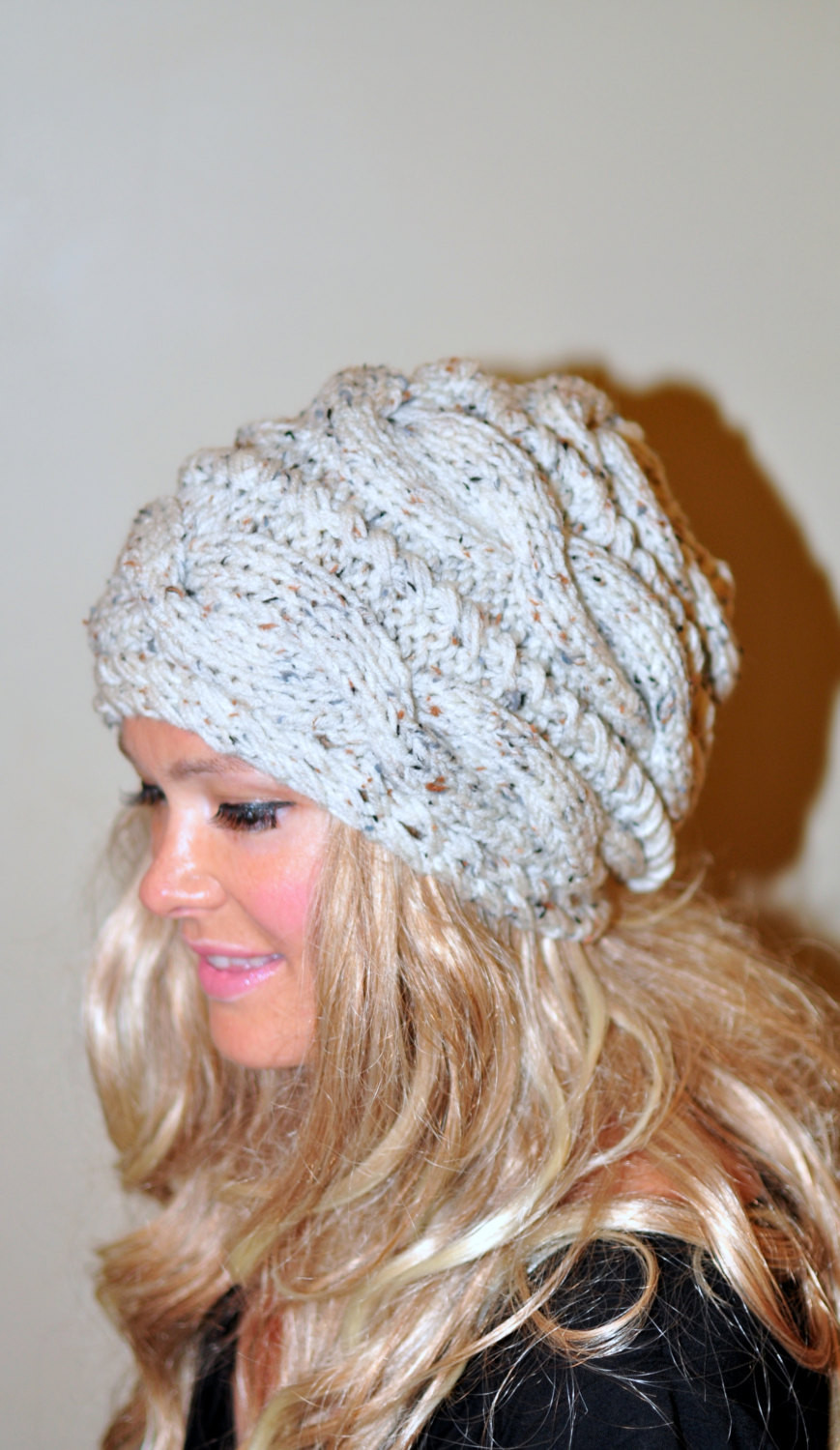 Slouchy Hat Beanie Slouch Cabled Hat Braided Knit Winter Women