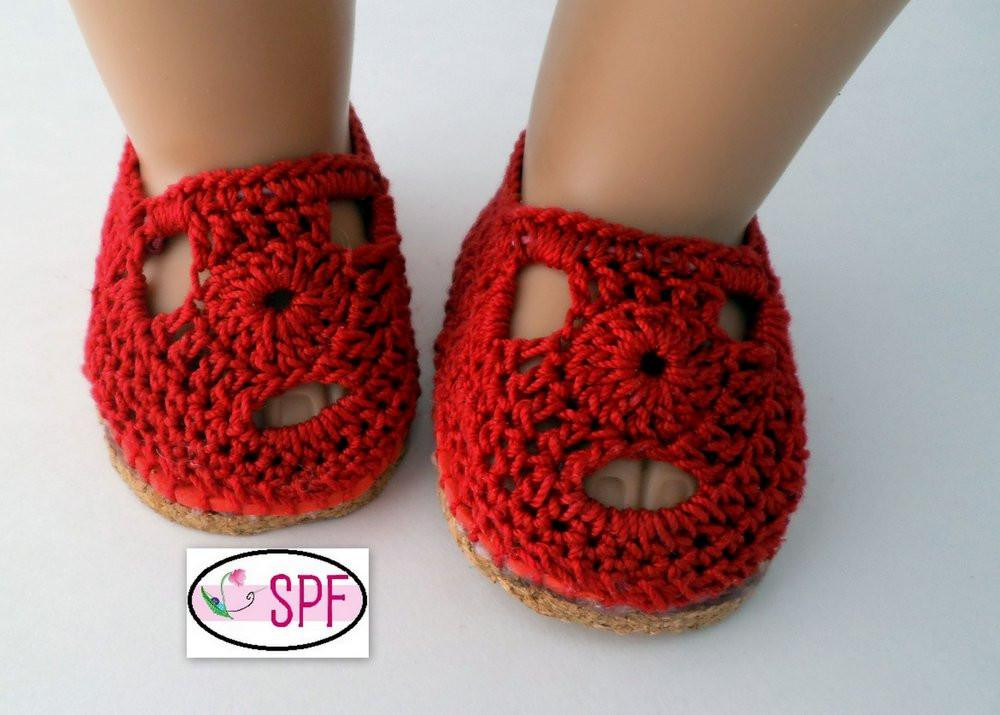 Sofia Crocheted 18 inch Doll Shoes PDF Pattern Download