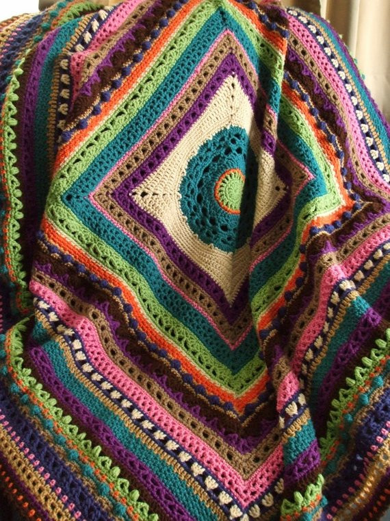 Stitch Sampler Afghan in Scraps Crochet Afghan Throw Blanket