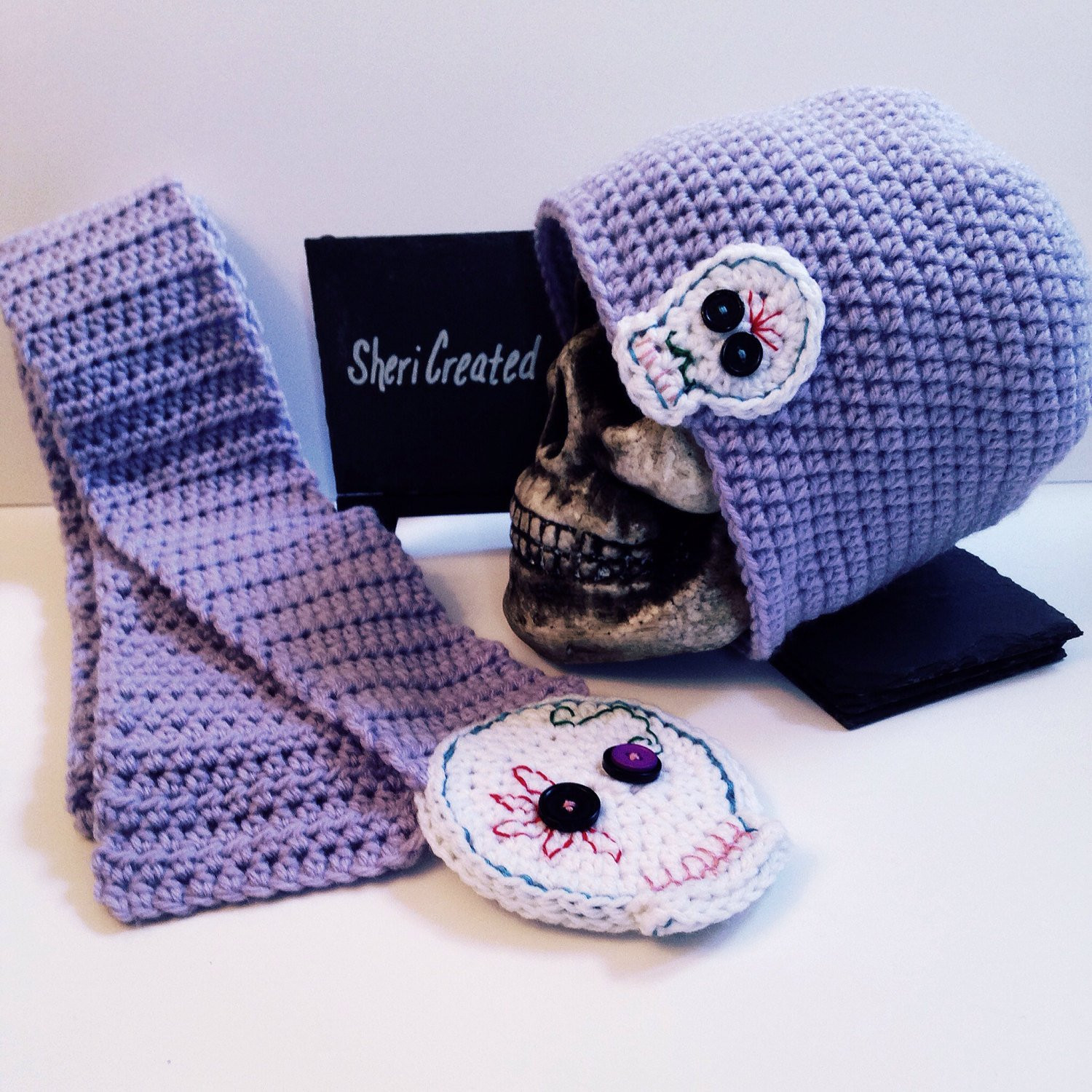 Beautiful Sugar Skull Crochet Scarf and Hat Set by Overyondershop On Crochet Sugar Skull Of Incredible 47 Pictures Crochet Sugar Skull