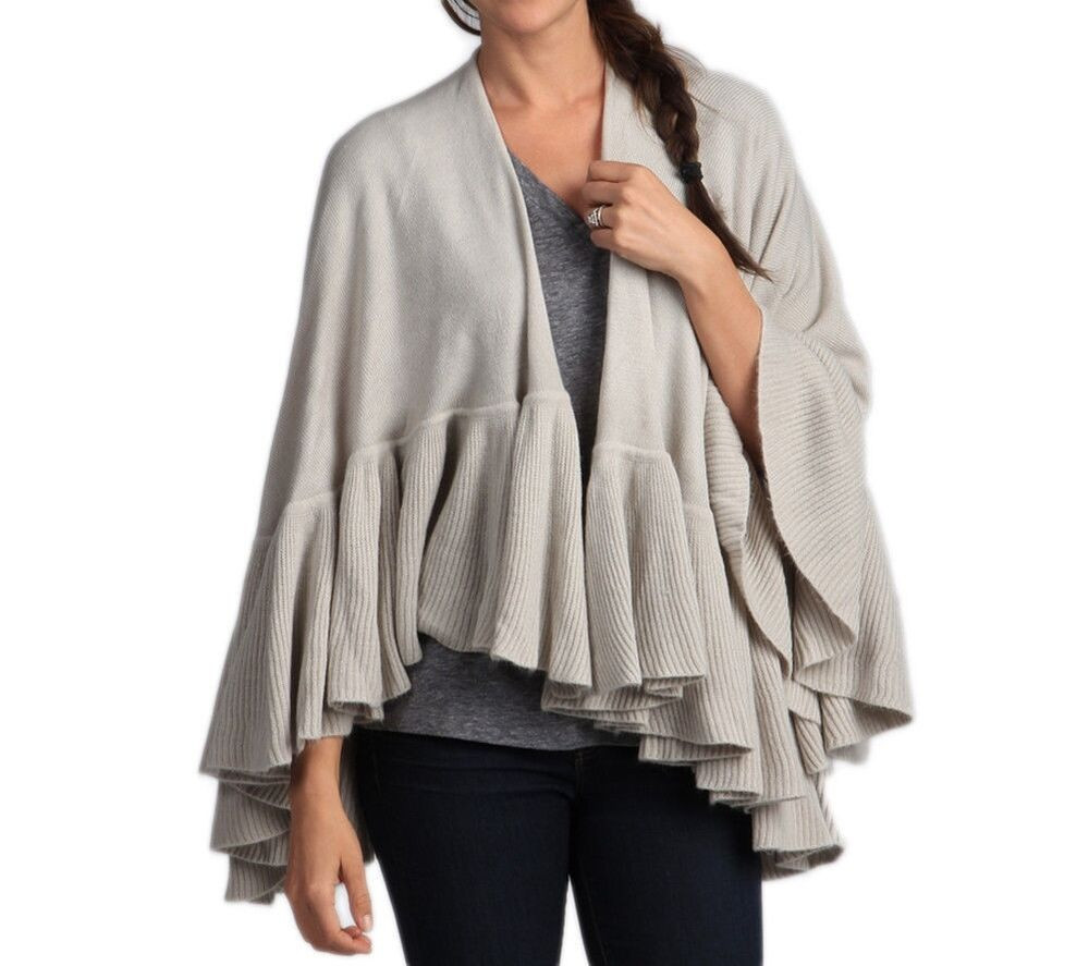 Beautiful Taleen Unique Knit Ruffle Trim Poncho Cape Shawl Wrap 3 Knitted Shawl Wrap Of Superb 49 Images Knitted Shawl Wrap