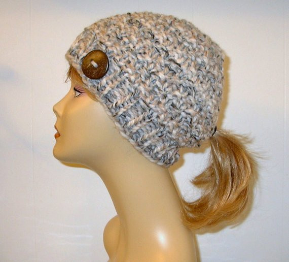 Beautiful Tan Cream Chunky Knit Pony Tail Hat Beanie by Alaskanknitgifts Beanie Hat with Ponytail Hole Of Incredible 47 Photos Beanie Hat with Ponytail Hole