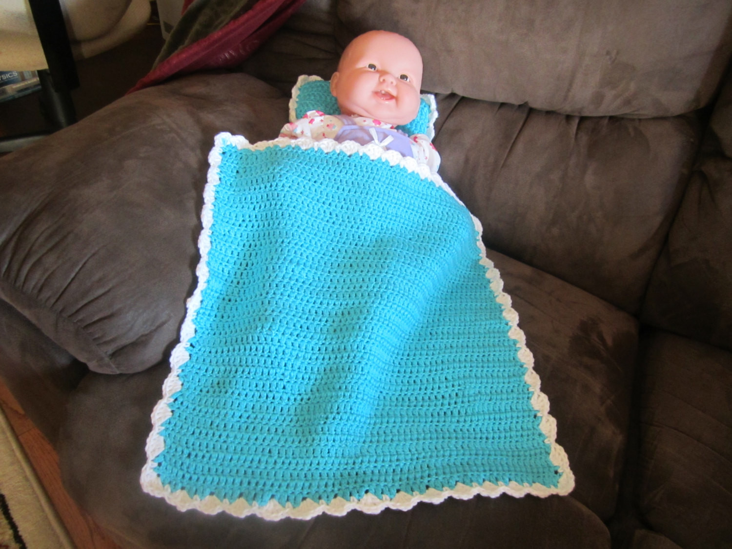 Turquoise Baby Doll Blanket and Pillow Set by