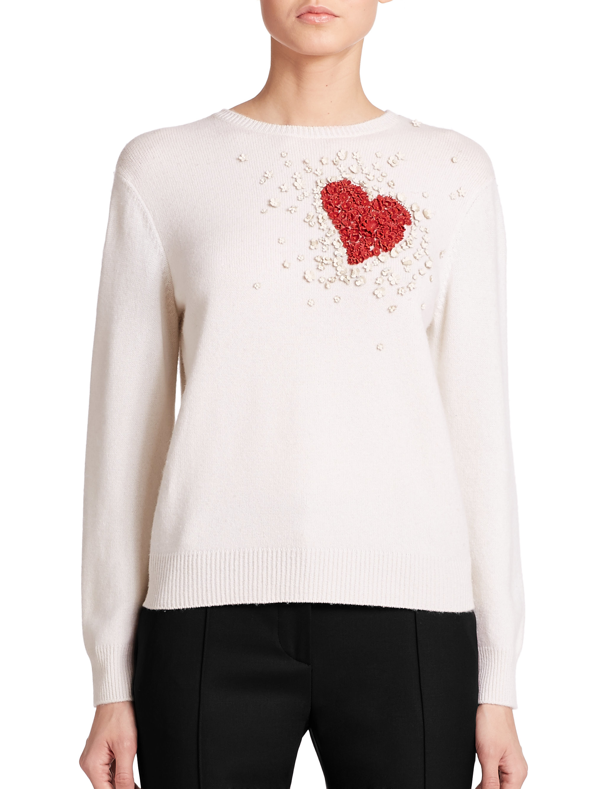 Beautiful Valentino Beaded Cashmere Heart Sweater In White Red Heart Sweater Of Lovely 32 Ideas Red Heart Sweater