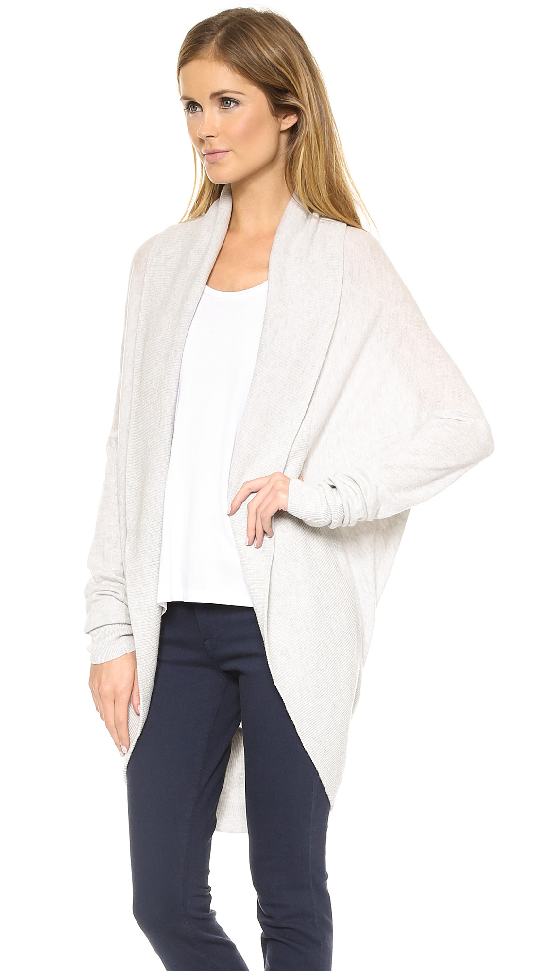 Vince Circle Cardigan Heather Snow in Beige Heather