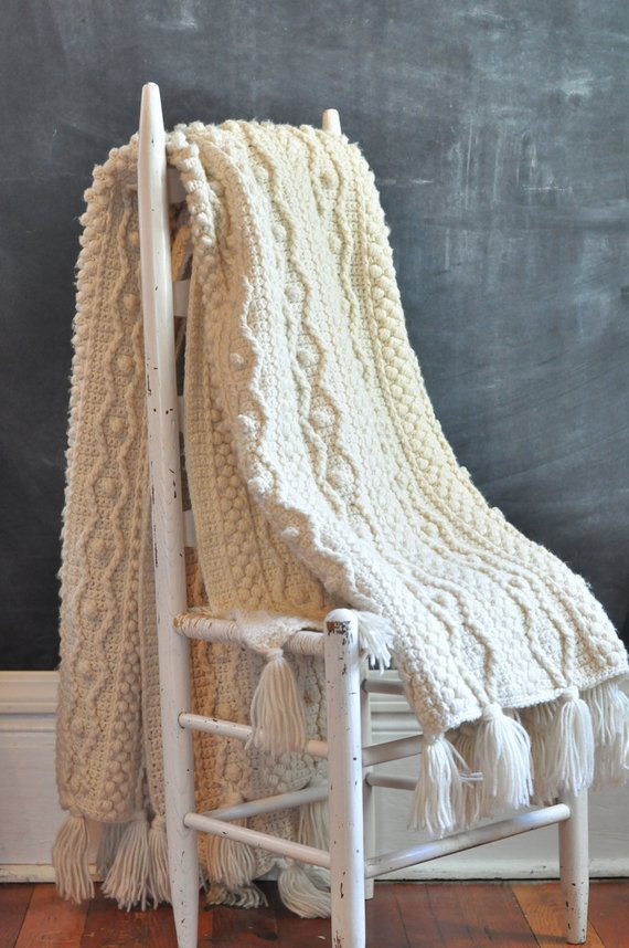 Beautiful Vintage Aran Heavy F White Afghan Blanket Rug Crochet Cable Aran Crochet Afghan Pattern Of Gorgeous 41 Pics Aran Crochet Afghan Pattern