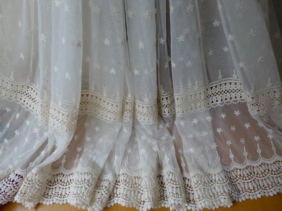Vintage Crochet Lace Fabric Cream Tulle Flower Trim Fabric
