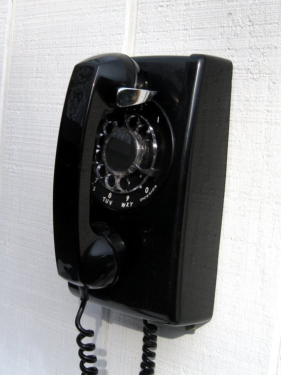 Vintage Wall Mount Phone Black Phone with Rotary Dial Retro