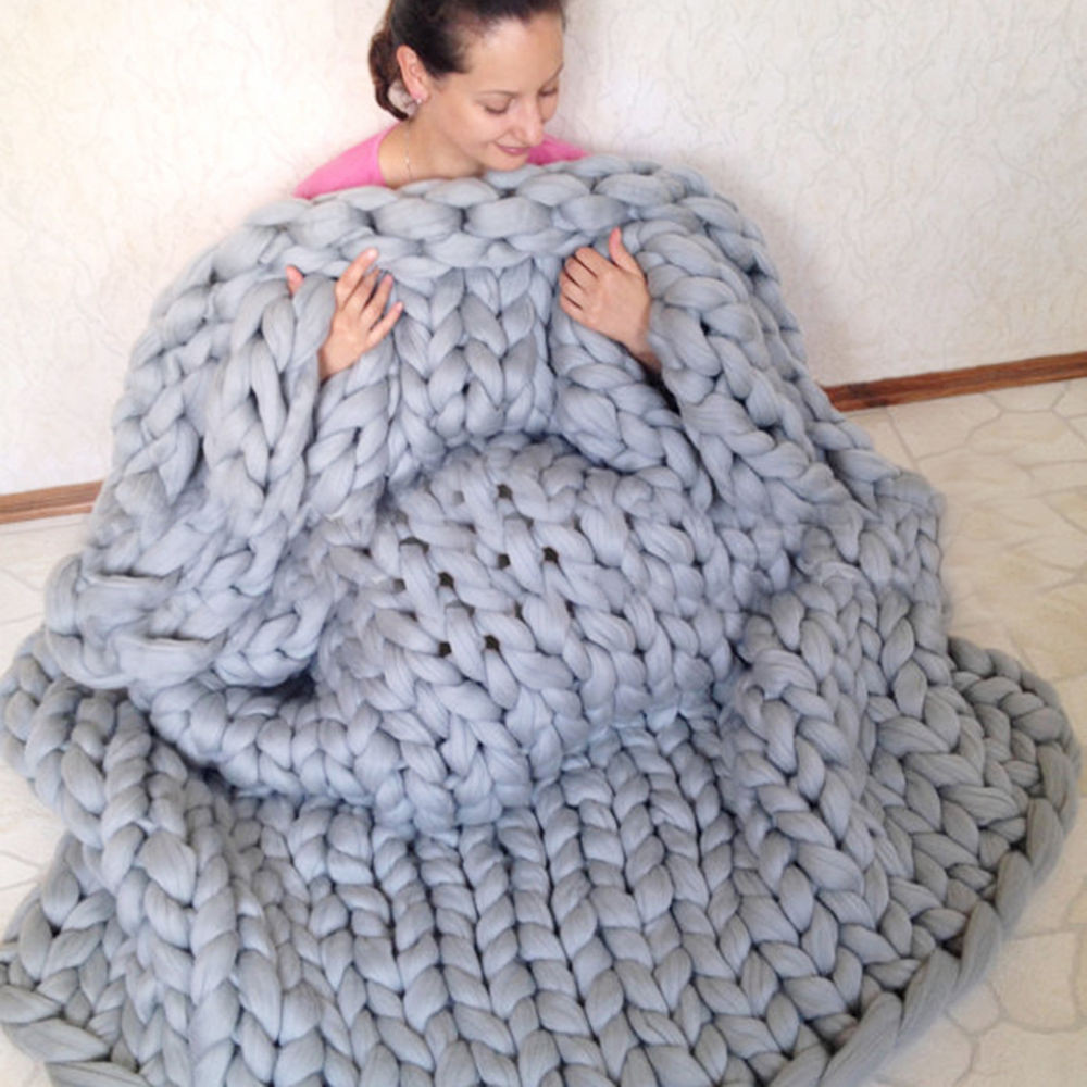 Warm Chunky Knit Blanket Thick Yarn Hand Woven Blanket