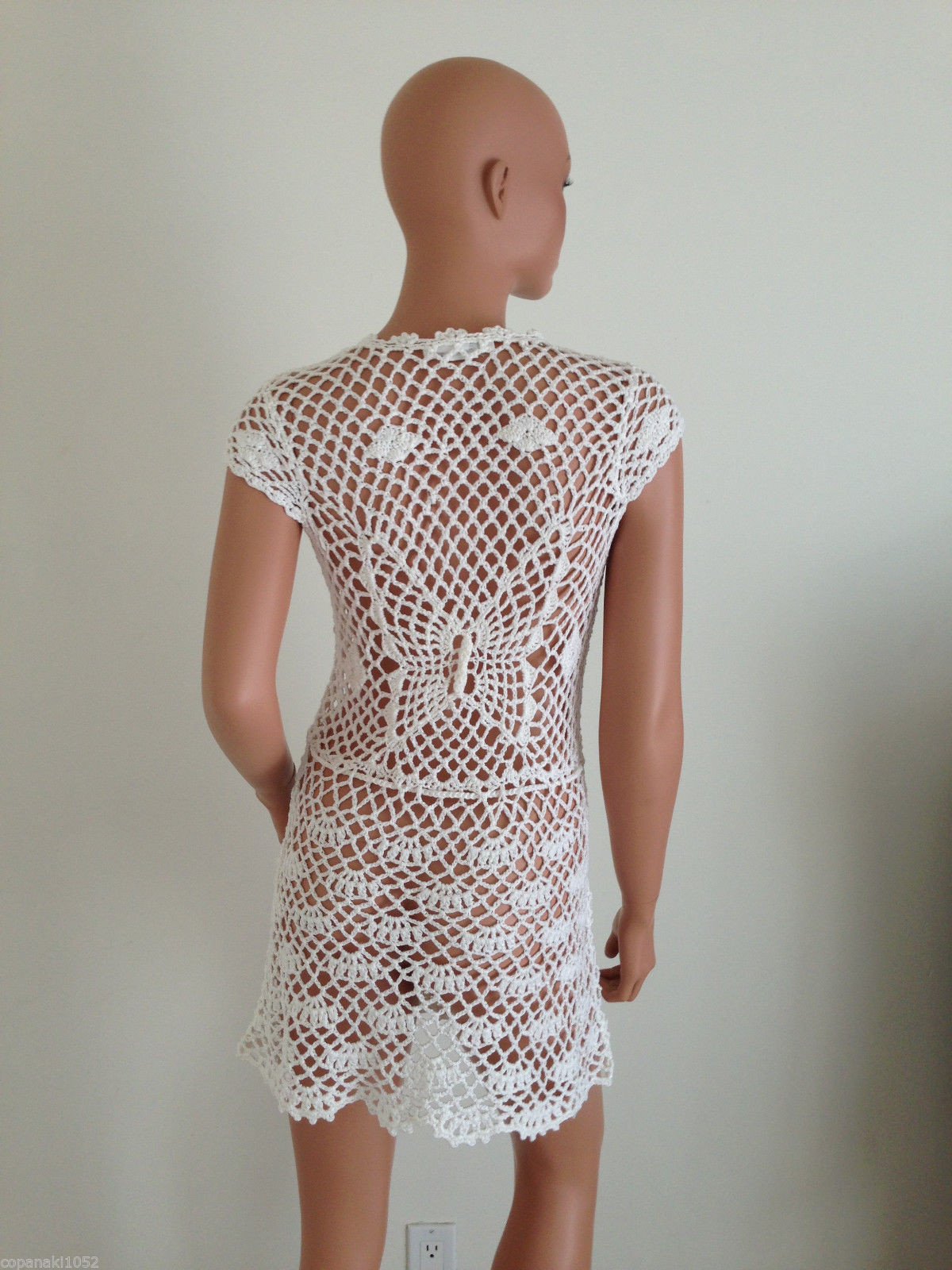 WHITE CROCHET DRESS sundress beach hippie boho hobo SMALL
