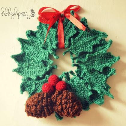 Beautiful Wintry Pine Cone and Holly Wreath Free Christmas Crochet Patterns for Beginners Of Incredible 41 Images Free Christmas Crochet Patterns for Beginners