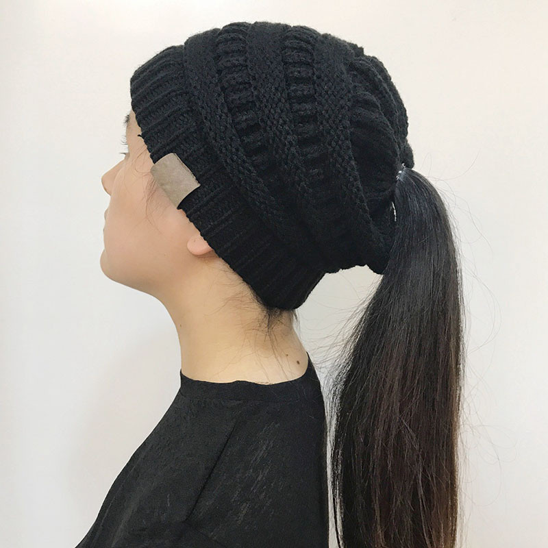 Beautiful Women Stretch Knitted Beanie Hat Messy High Bun Ponytail Knitted Messy Bun Hat Of Luxury 50 Models Knitted Messy Bun Hat