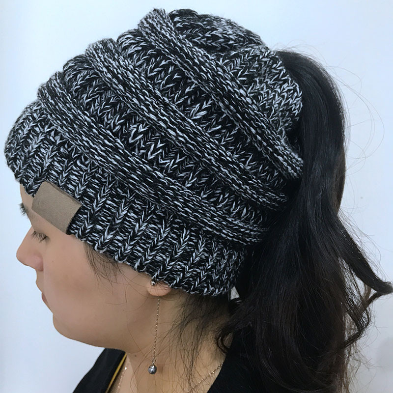 Beautiful Women Stretch Knitted Beanie Hat Messy High Bun Ponytail Ponytail Winter Hat Of Incredible 45 Pictures Ponytail Winter Hat