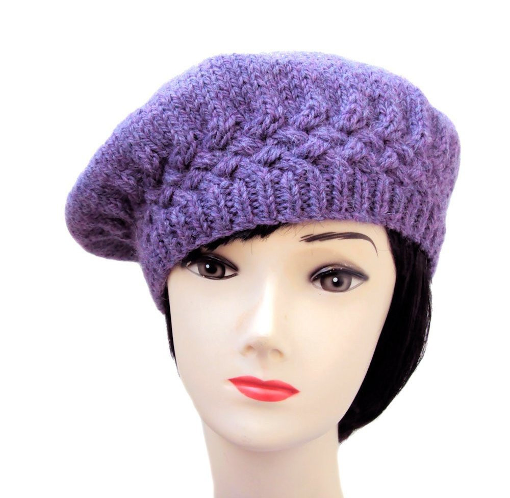 Womens Beret Wool Knit Hat Purple Beret Winter Knit Hat by