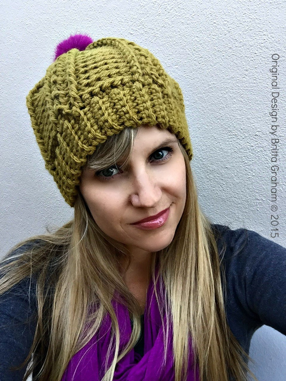 Womens Cable Beanie Crochet Pattern for chunky yarn No 250