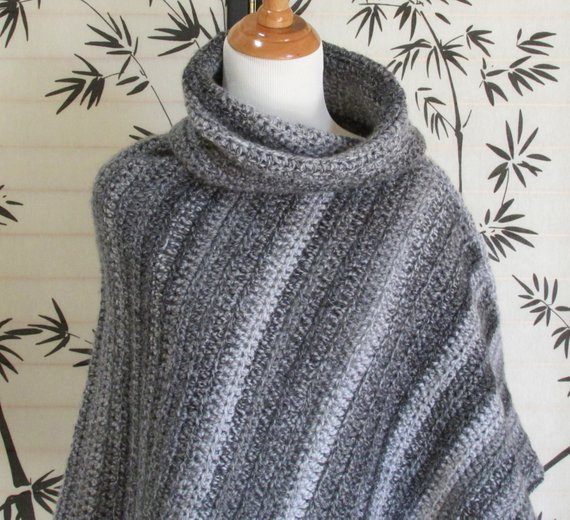 Beautiful Womens Cowl Neck Poncho Black Gray and White Marble Colors Crochet Cowl Neck Poncho Of Beautiful 44 Pics Crochet Cowl Neck Poncho