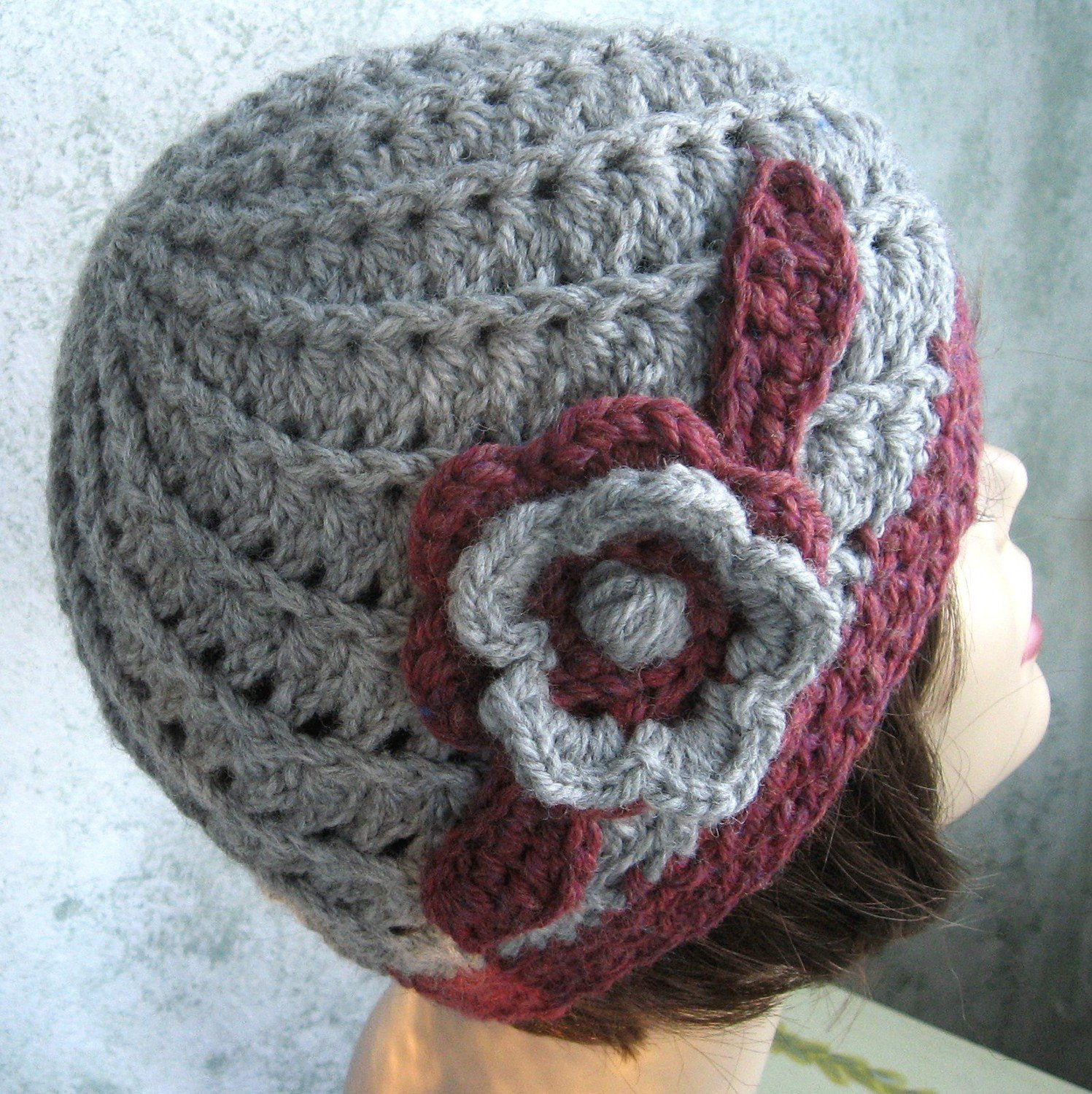 Beautiful Womens Crochet Hat Pattern Spiral Rib with Double Flower Trim Crochet Flower for Hat Of Beautiful 45 Photos Crochet Flower for Hat