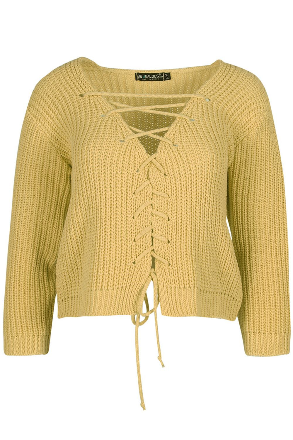 Beautiful Womens Lace Up Plunge V Neck Chunky Cable Knit Jumper V Neck Cable Knit Sweater Of Great 44 Pictures V Neck Cable Knit Sweater