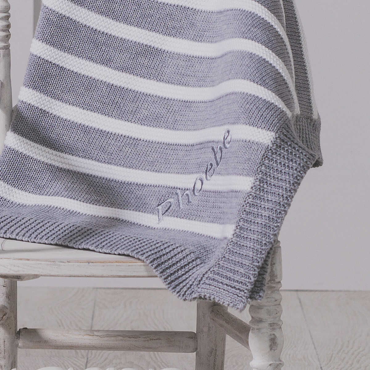 Beautiful Zippy Personalised Grey and White Stripe Cotton Knitted Cotton Knit Baby Blanket Of Awesome 41 Models Cotton Knit Baby Blanket