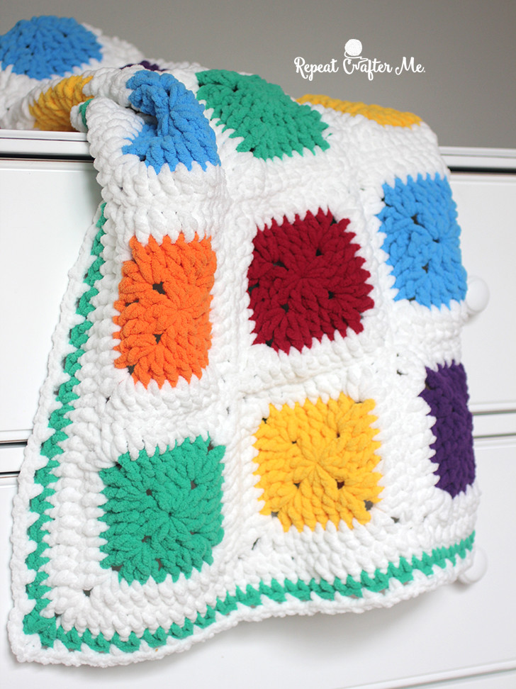 Bright and Bulky Bernat Blanket Repeat Crafter Me