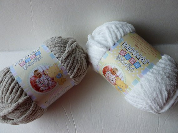 Yarn Sale Baby Dove and White Baby Blanket by Bernat