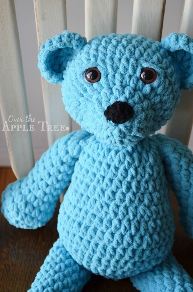 Super Squishy Crochet Bear made with Bernat Baby Blanket