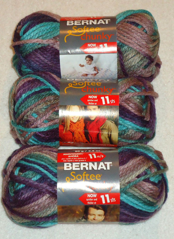 Bernat softee Chunky Fresh Bernat softee Chunky Yarn Lot 3 Skeins Shadow Of Delightful 50 Images Bernat softee Chunky