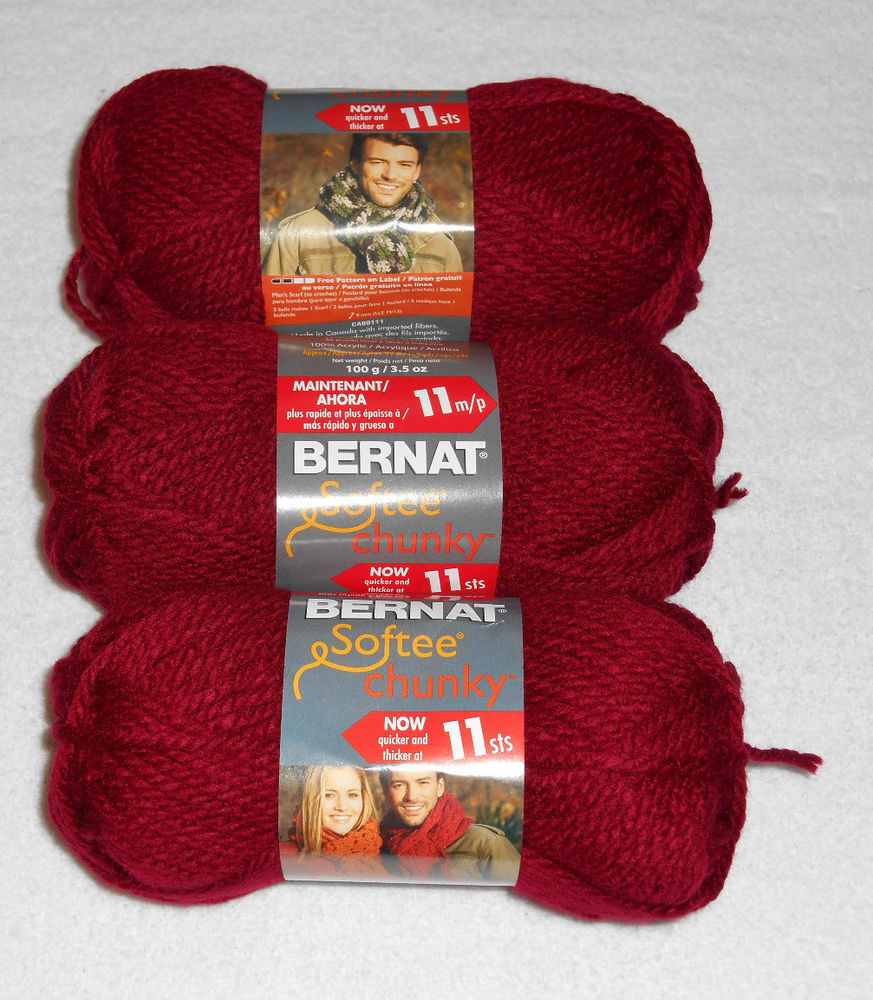 Bernat softee Chunky Lovely Bernat softee Chunky Yarn Lot 3 Skeins Wine Of Delightful 50 Images Bernat softee Chunky
