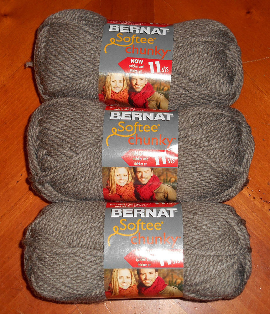 Bernat Softee Chunky Yarn Lot 3 Skeins Taupe Grey