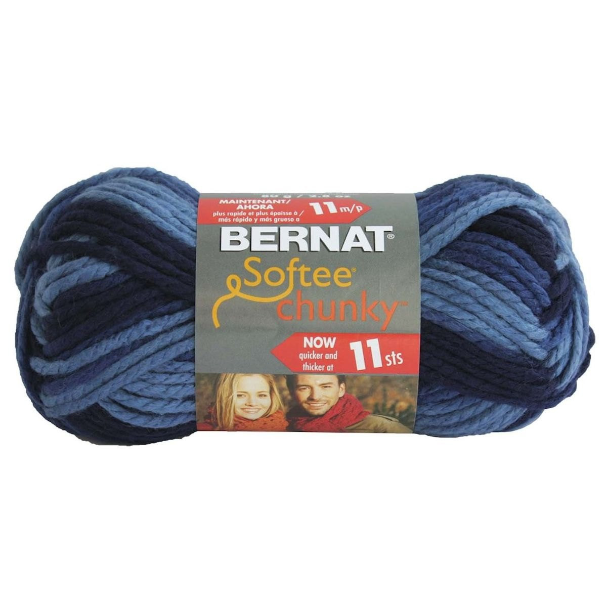 DENIM OMBRE Bernat Softee Chunky Yarn Super Bulky yarn Blue