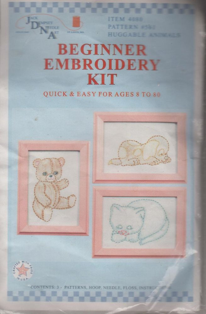 """Best Of 1 Jack Dempsey """"huggable Animals"""" Beginner Kit Stamped for Hand Embroidery Kits Beginners Of Gorgeous 45 Photos Hand Embroidery Kits Beginners"""
