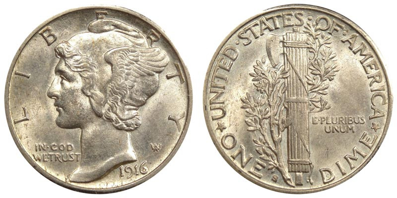 1916 S Mercury Silver Dimes Value and Prices