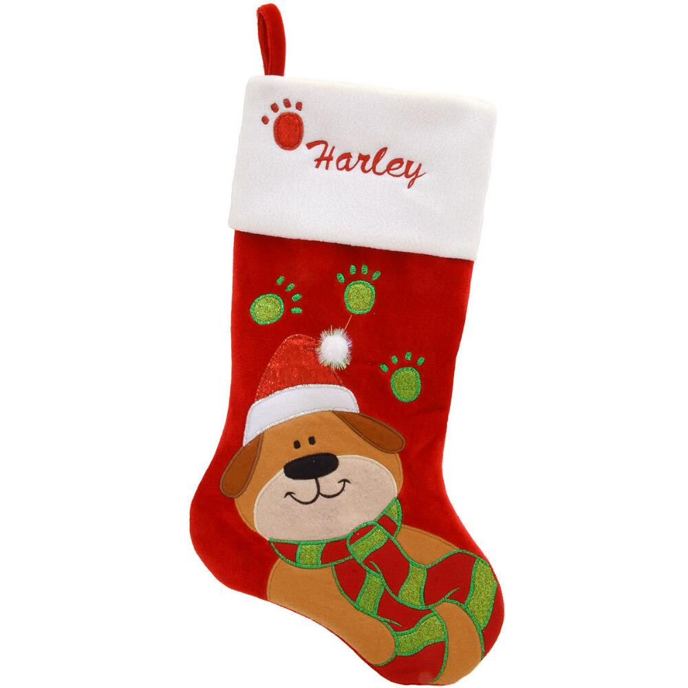 20 5 Inch Personalized Dog With Paw Cuff Stocking