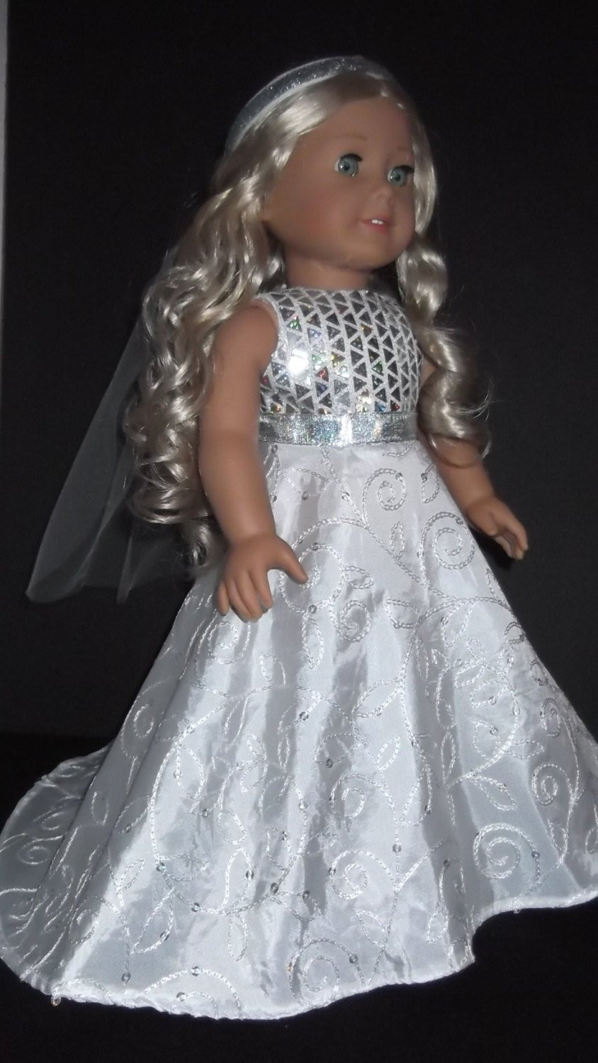 Best Of American Girl Doll Clothes Wedding Gown and Veil 257 American Girl Doll Wedding Dress Of Beautiful American Girl Doll Wedding Dress Satin and Silver American Girl Doll Wedding Dress