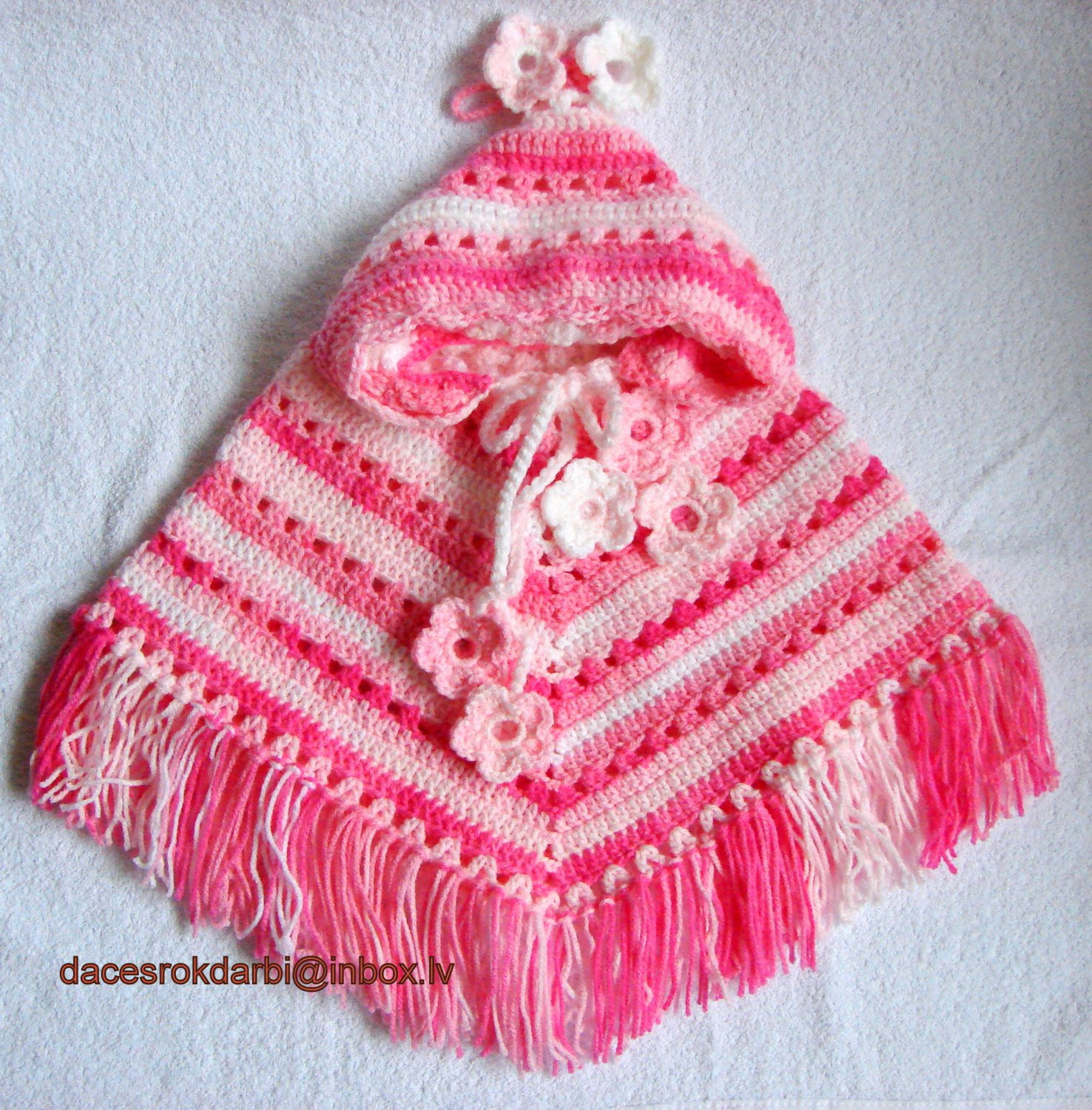 Baby Girl Crocheted Hooded Poncho by Dachuks on Etsy
