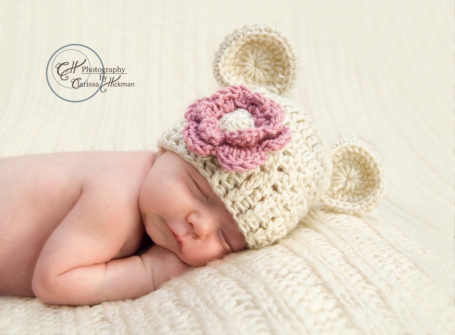 Baby Girl Hat Crochet Beanie Hat with Ears Infant Beanie Hat