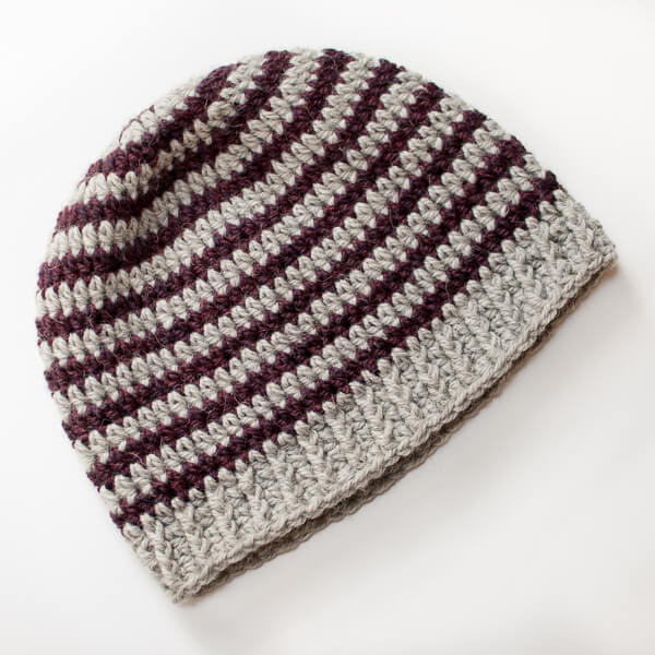 Basic Striped Crochet Hat Pattern Petals to Picots