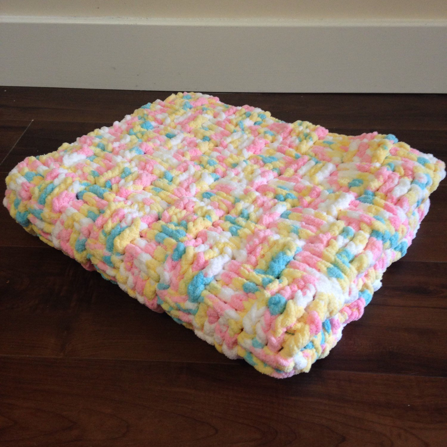 Basketweave Crochet Baby Blanket Blue Pink Yellow and White