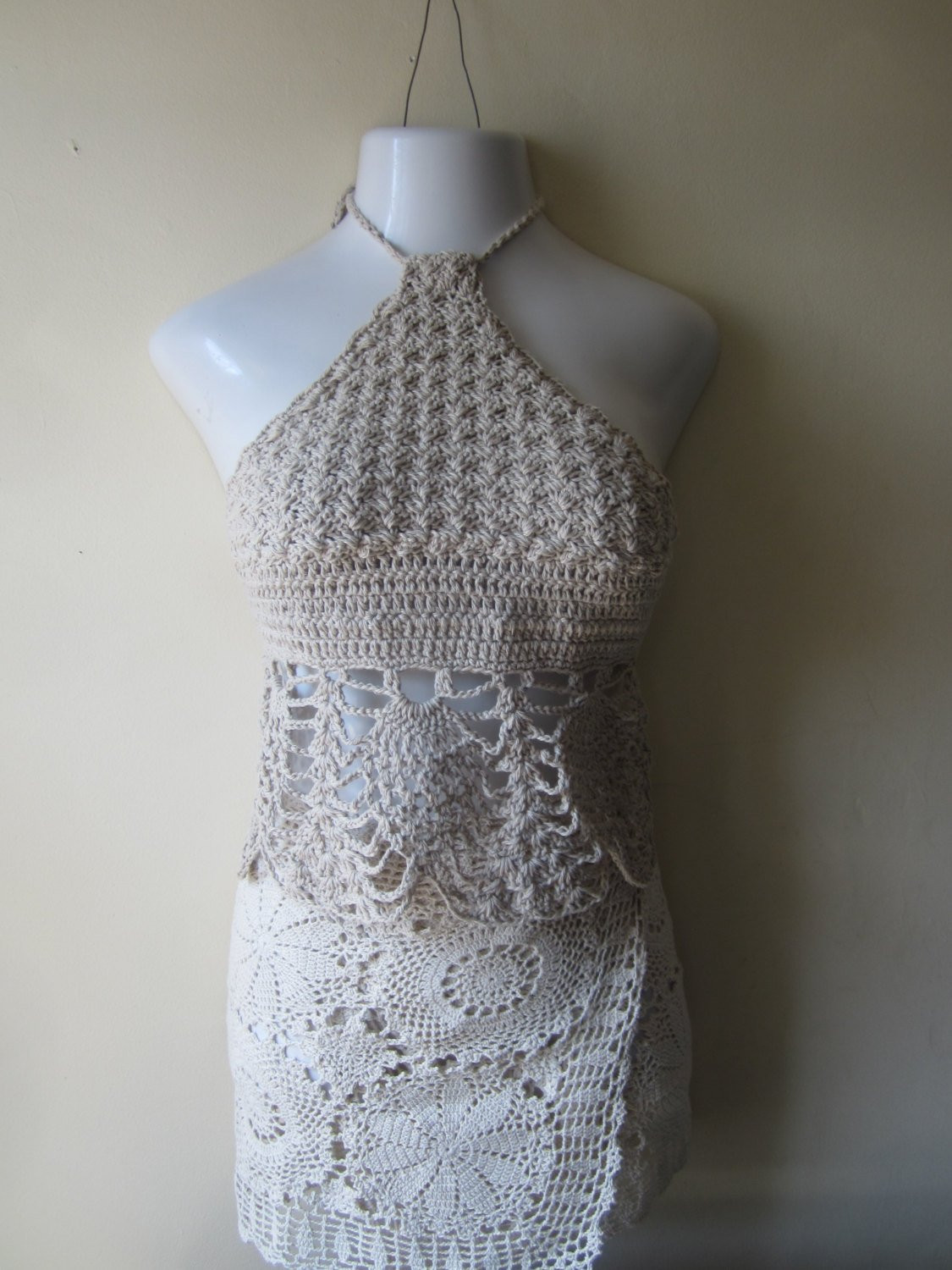Best Of Beige Crochet Halter top Crochet Summer Halter top Festival Crochet Halters Of Incredible 40 Models Crochet Halters