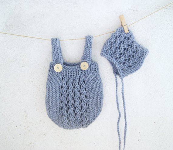 Best Of Blue Hand Knit Baby Romper and Bonnet Set Knitted Baby Knitted Baby Romper Of Amazing 42 Ideas Knitted Baby Romper
