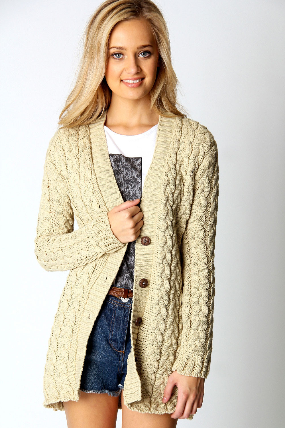 Boohoo Womens La s Lucy Cable Knit Long Sleeve Hip