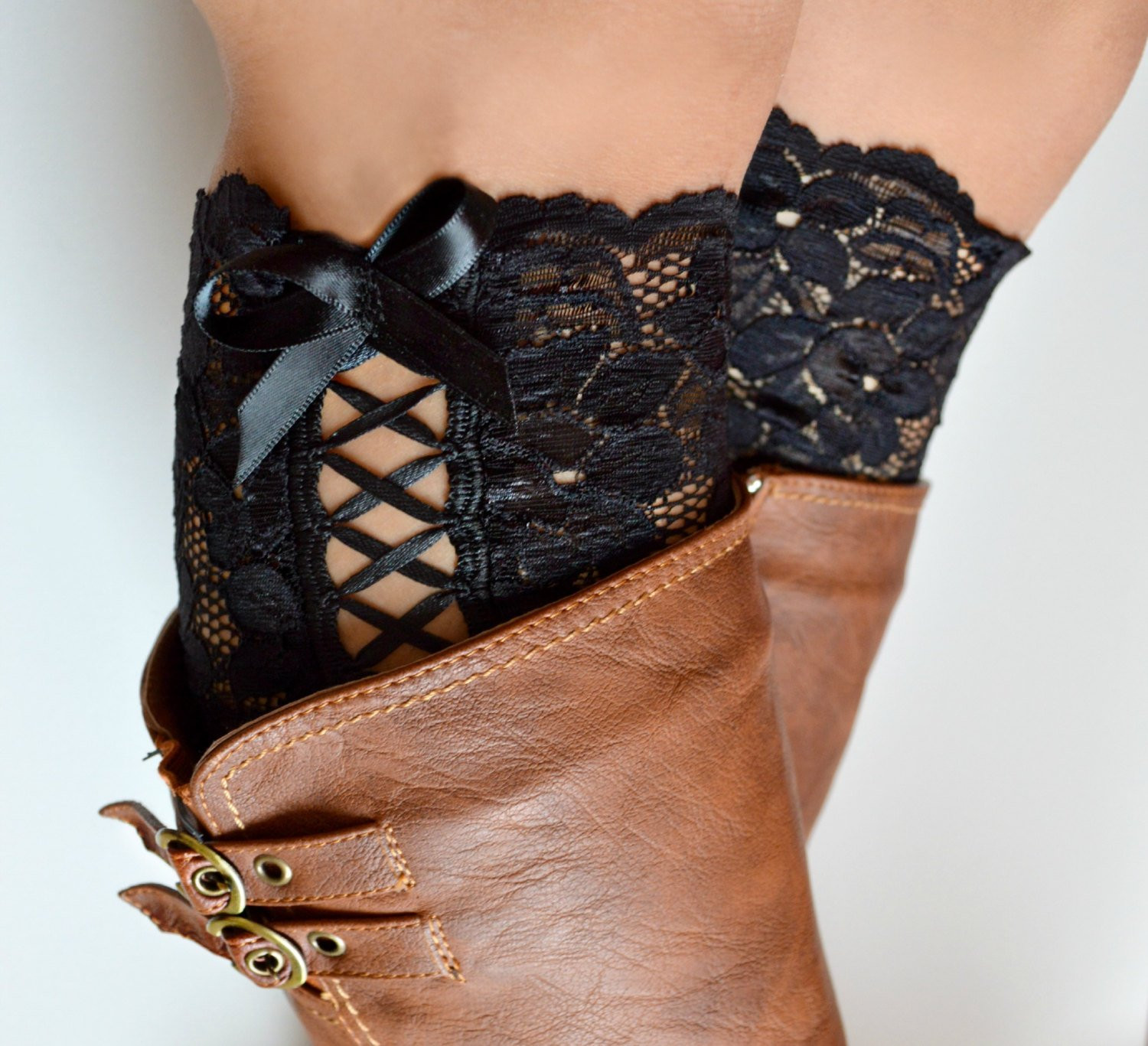 Best Of Bow Tie Up Black Floral Lace Boot Cuffs Tie Up Boot Lace Lace Boot Cuffs Of Awesome 50 Pictures Lace Boot Cuffs
