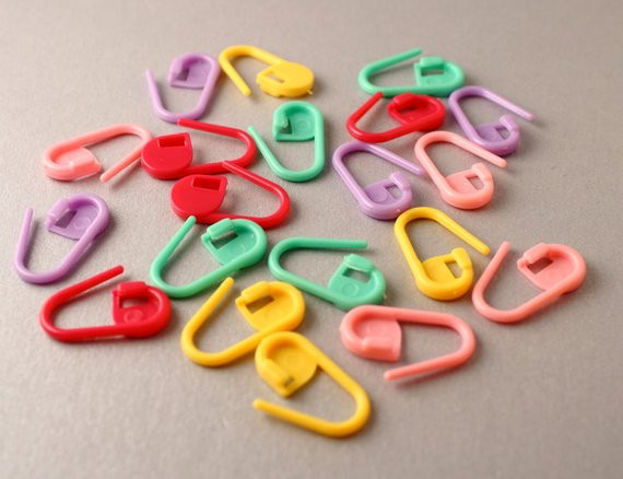 Colourful Padlock Style Locking Stitch Markers or Row Markers