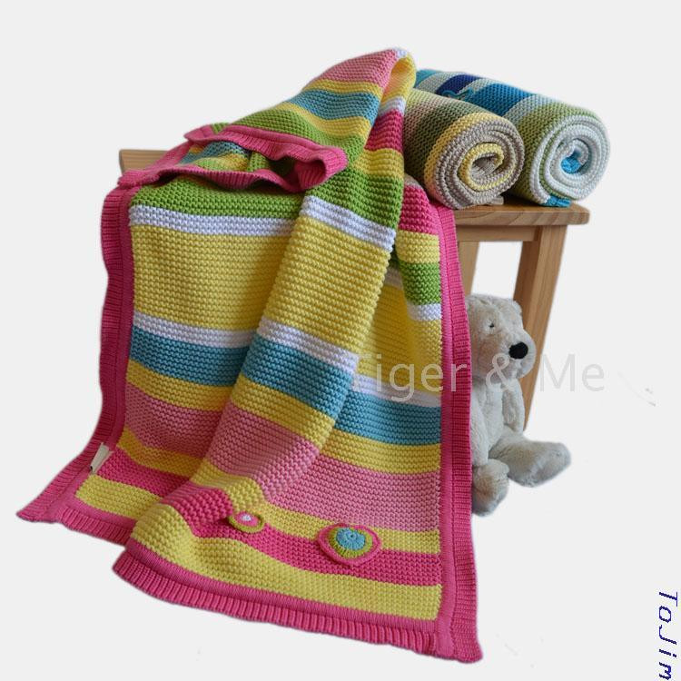 Best Of Cotton Striped Baby Blanket Straight Edge Knitting Cotton Knit Blanket Of Innovative 42 Models Cotton Knit Blanket