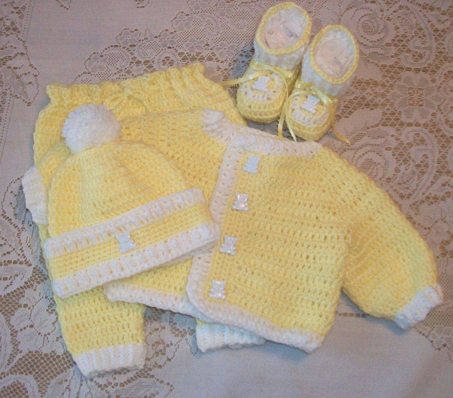 Best Of Crochet Baby Boy Yellow Sweater Set Layette with Leggings and Crochet Baby Sets Of Amazing 49 Models Crochet Baby Sets